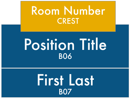 LWTech East Building Signs: Crest-Room Number, B07-Position Title, B06-Staff First and Last Name