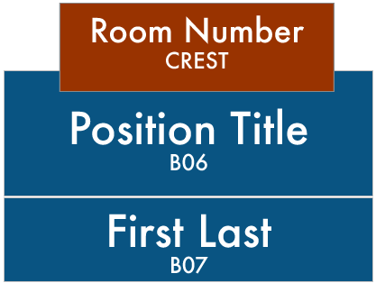 LWTech West Building Signs: Crest-Room Number, B07-Position Title, B06-Staff First and Last Name