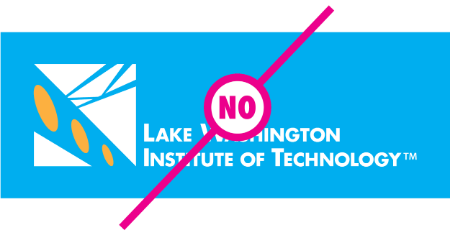 "Example of logo with modified colors with a ""no"" text layed over the logoh"