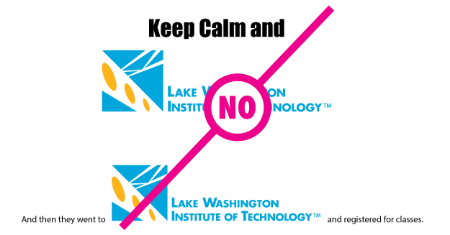 "Example of logo with modified titles with a ""no"" text layed over the logo"