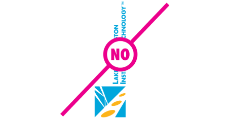 "Example of logo with modified rotation with a ""no"" text layed over the logo"