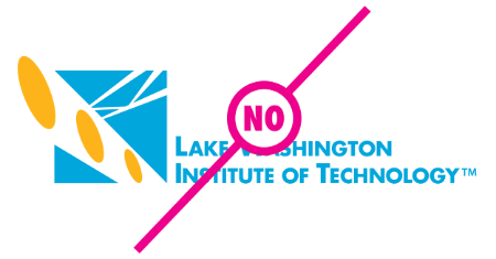 "Example of logo with modified size with a ""no"" text layed over the logoh"