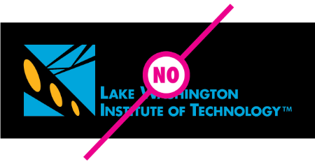 "Example of logo with modified background with a ""no"" text layed over the logoh"