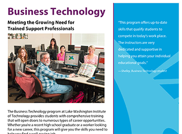 LWTech Business Technology Program Flyer