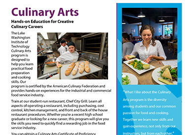 LWTech Culinary Arts Program Flyer