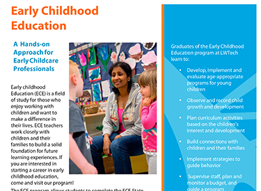 LWTech Early Childhood Education Program Flyer