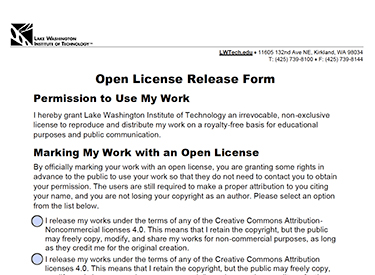 Open License Release Form