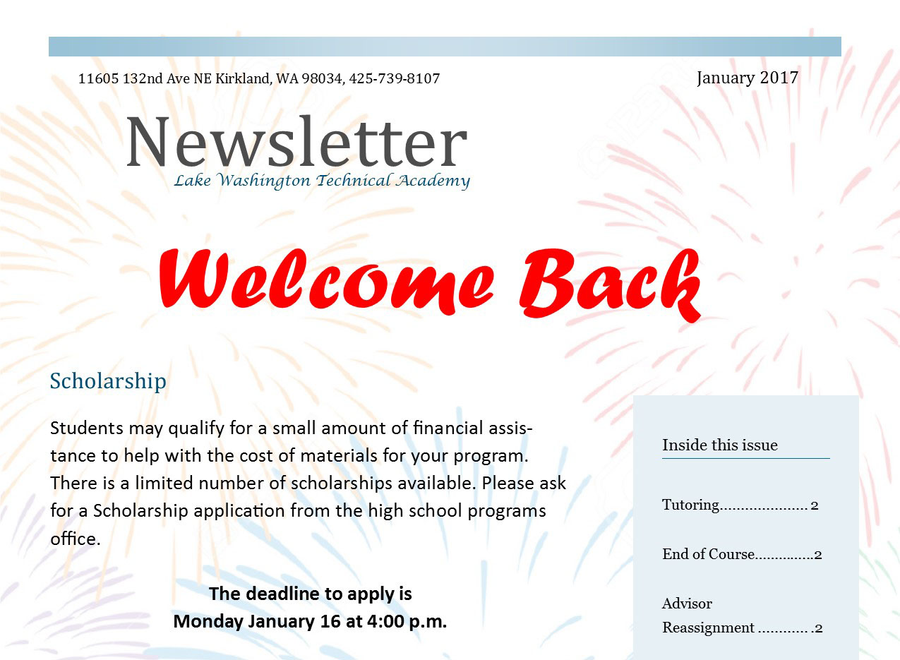 LWTech High School Programs January 2017 Newsletter