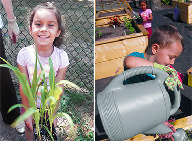 LWTech Early Learning Center preschoolers gardening