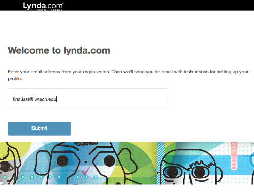 Lynda.com screenshot when entering your email address