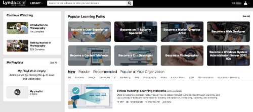 Screenshot of Lynda.com once you are logged in.