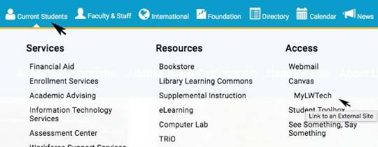 Screenshot of Current Students dropdown menu with MyLWTech link