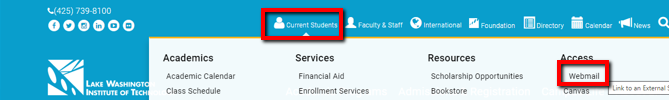 Screenshot of LWTech's website Current Students dropdown menu