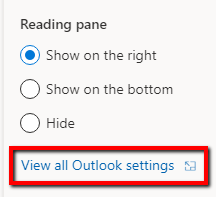 Screenshot of reading page in outlook