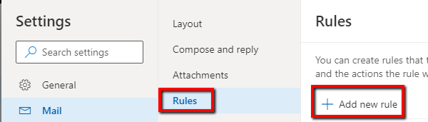 Screenshot of Rules link in side pane