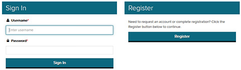 Screenshot of the LWTech On the Hub sign in and register page
