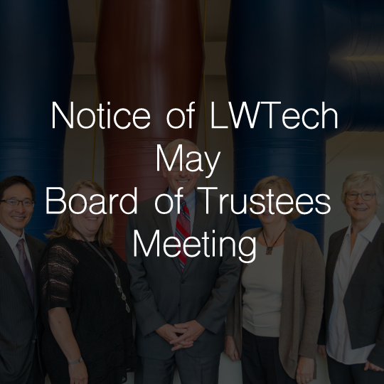 Notice of Lake Washington Institute of Technology May Board of Trustees Meeting