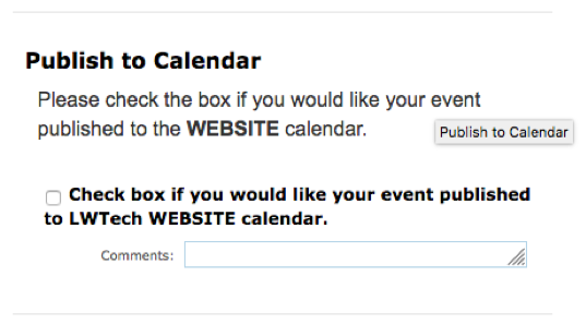 Screenshot of the checkbox option to request to publish to the website calendar