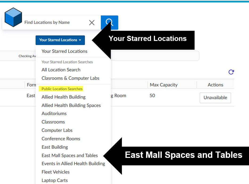 Selecting East Mall and tables from Starred Locations in 25 Live